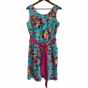 NWT Lolly Wolly Doodle Floral a line belted dress